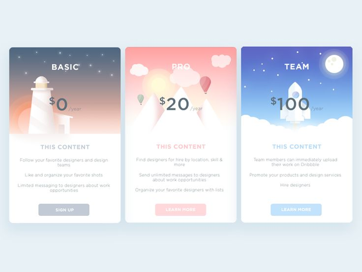 This is three illustration pricing cards !  You can also look the animated version:  https://dribbble.com/shots/2369389-Registration-card  Don't forget to press L and show some support :')