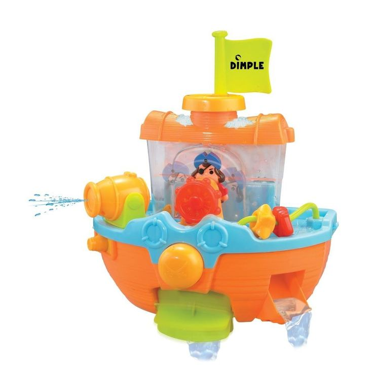 AmazonSmile: Wall Mountable Pirate Ship Bath Tub Toy with Water Scoops, Moveable Rudder and Paddle and Water Cannon!: Toys & Games
