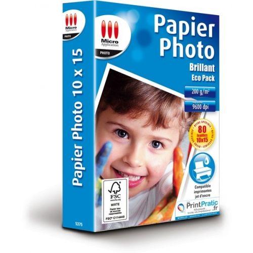 Papier photo 10x15 cm 200g/m² - 80 feuilles - Micro Application