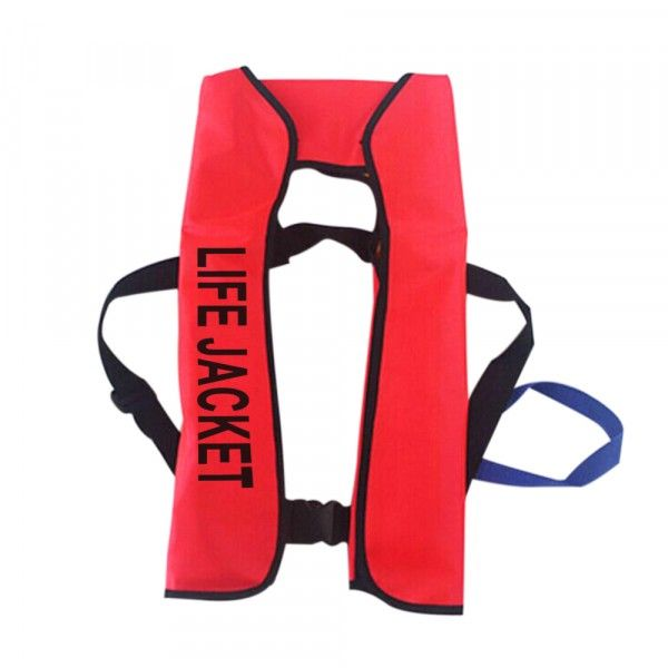 Features:Auto Inflate Survival Aid Boating Sailing Life Jacket Vest for AdultsMaded of high quality nylon with water repellent(TPU laminated material,SOLAS approved reflective tape)Adjustable belt fit for every body s