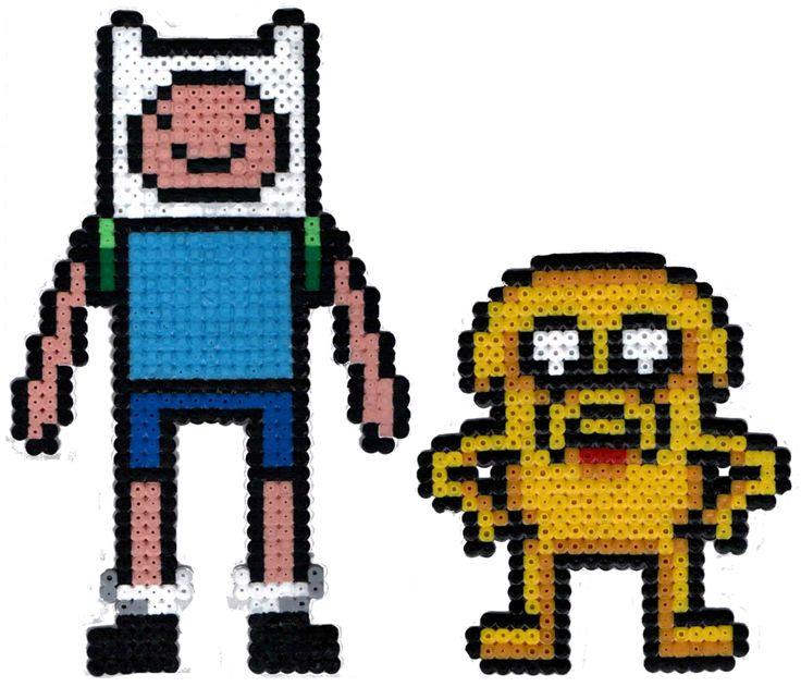 Finn and Jake Perler Beads by Kryptonite-Kid.deviantart.com on @deviantART