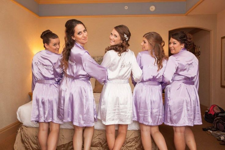 These #bride and #bridesmaids #robes are absolutely adorable!! Made by @weddingprepgals #lilac #wedding  See more here: http://weddingprepgals.com