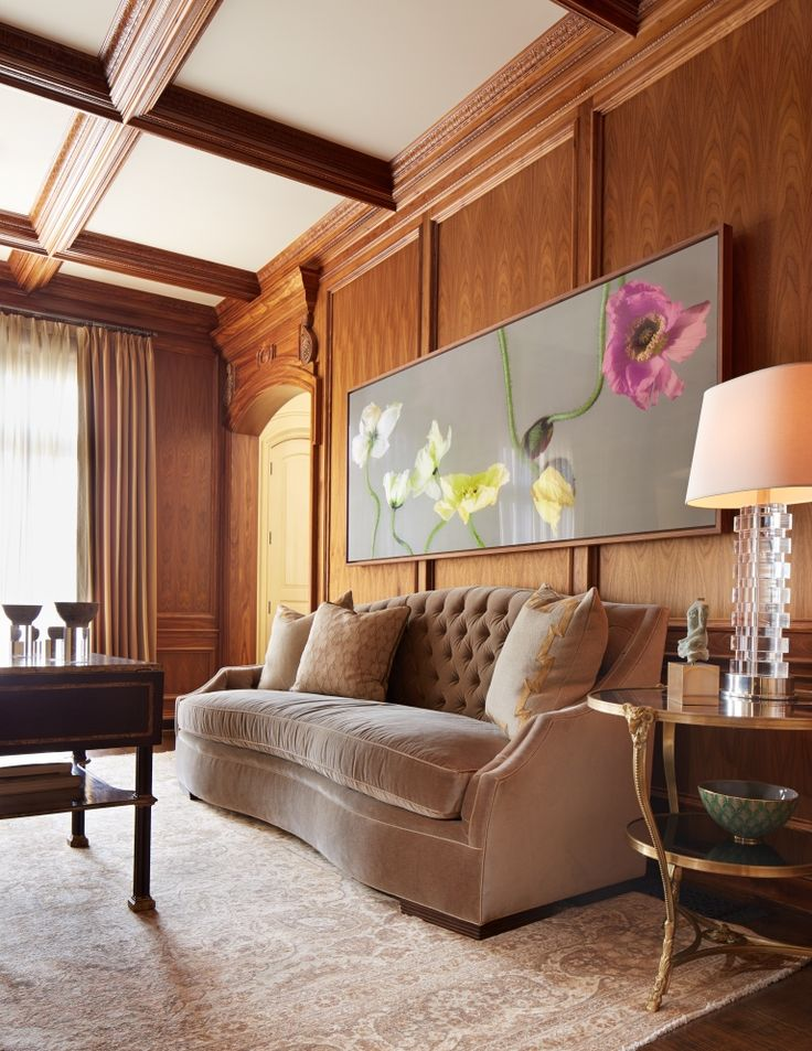 Ideas For Rooms With Wood Paneling: Inviting Living Room With Wood Paneling Wall & Warm Color