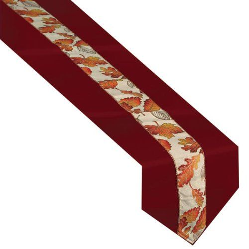 Autumn Leaves Fabric Table Runner Party Accessory (1 count) (1/Pkg)