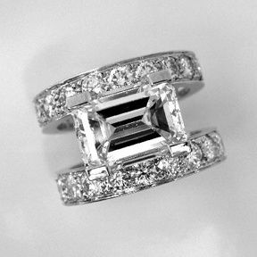 Jewelry Diamond : Emerald Cut Engagement Ring by Oliver Smith Jeweler.