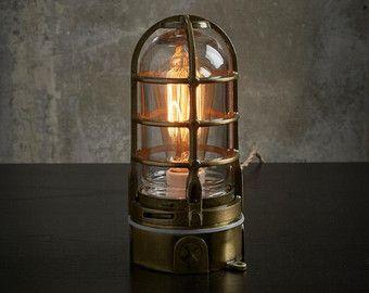 Industriële Lamp antieke koperen kooi licht, steampunk metalen touch lamp, modern Edison tafellamp met dimmer, nautische decor 120v-240v