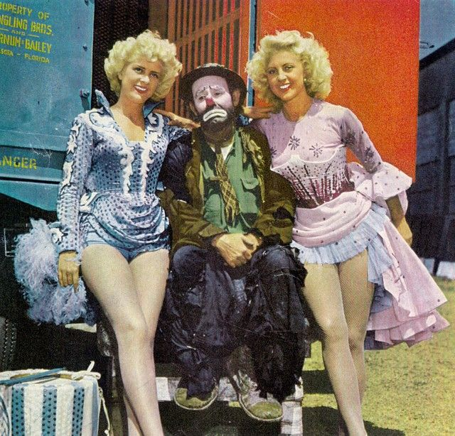 For Love of 1940's Circus Showgirls - Ansco Color Film advertisement Emmett Kelly Ringling Brothers showgirls
