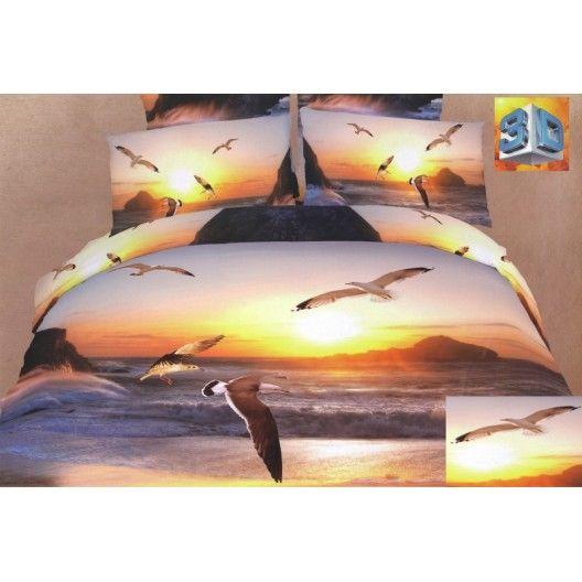 Fialové 3D posteľné obliečky more a čajky