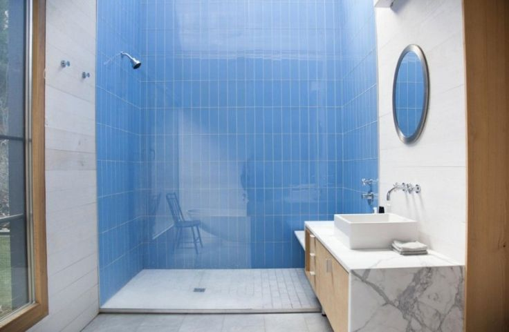 Home Design Blue Bathroom In One Side Wooden Home Interior Design A Shower And Circle Miror In The Wall And The White Washbasin Country Rural Home Designs Plans with Open Floor Plan
