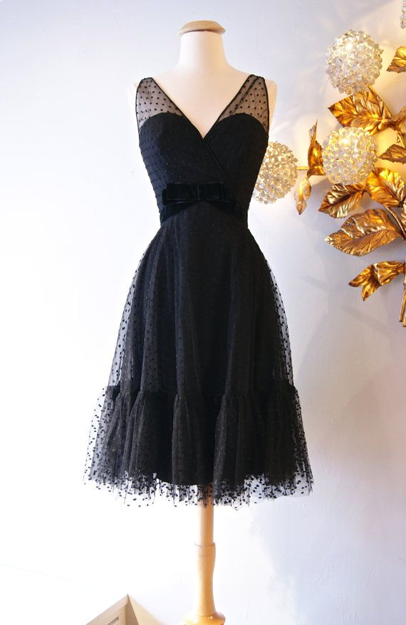 Vintage 1960s Little Black Dress 60s Illusion By