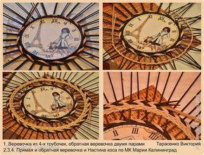 """Здравствуйте дорогие мастера и гости сайта! Два поста в один день, решила часы выложить отдельно, многие просили МК часов, особо и Мк это не назвать, старалась запечатлеть все моменты, сделала описание, для начинающих надеюсь будет понятно, ну а для матёрых плетильщиц это уже семечки:-))) Диаметр часов """"Парижанка"""" 35см. Вокруг циферблата  веревочки в три трубочки МК Ричардс http://stranamasterov.ru/node/390898?t=451 , после верёвочки полукоса и по краю перед переходом к бортику """"Настина…"""