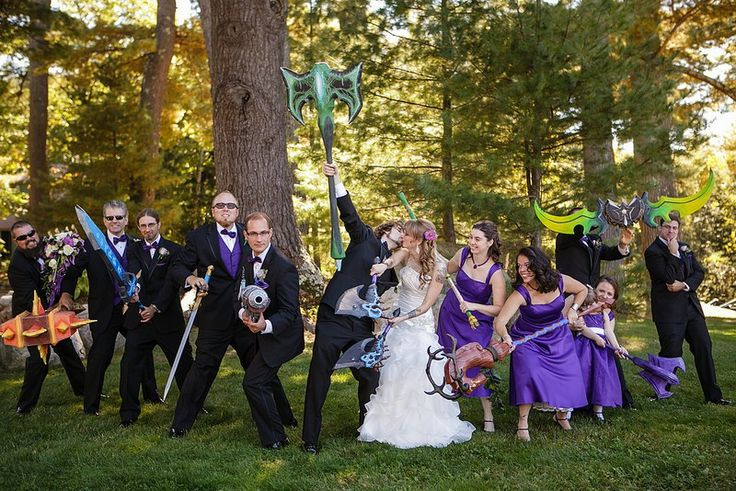 Pick a side: Horde or Alliance for this geektastic World of Warcraft, LEGO, and crafted weapons (worthy of the best cosplay) wedding. Instead of a sweetheart table, a loot table… instead of t…