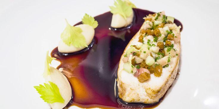 Cornish turbot, Marchand de Vin sauce, bone marrow and celery