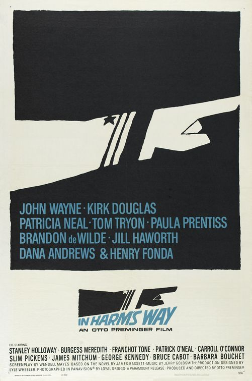 """MP123. """"In Harm´s Way"""" American Movie Poster by Saul Bass (Otto Preminger 1965) / #Movieposter"""