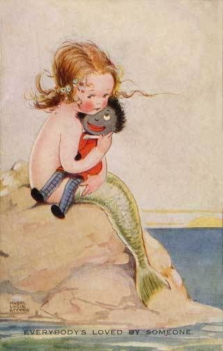 """Beautiful Young Mermaid Golliwog Image """"Everybody's Loved by Someone"""""""