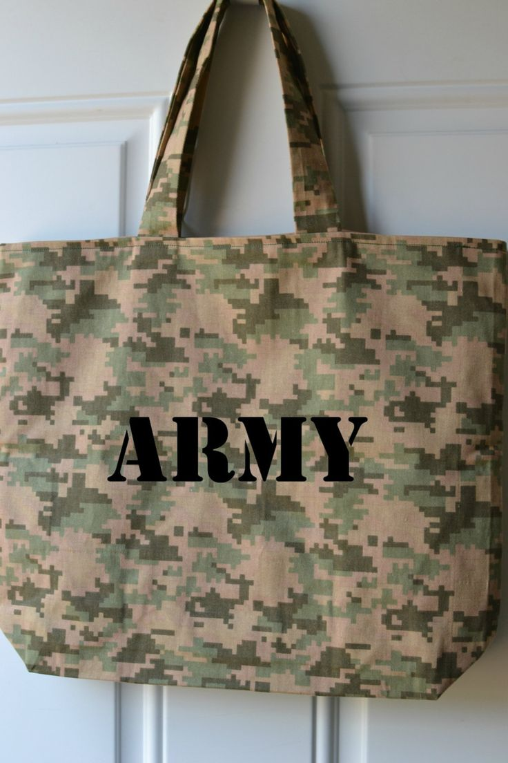 Camouflage Tote Bag, Army, Army Tote, Camo, Weekend Bag, Diaper Bag, Beach Bag, Large Tote, Army Bag, Camouflage Tote by MamaAndMeCrafty on Etsy