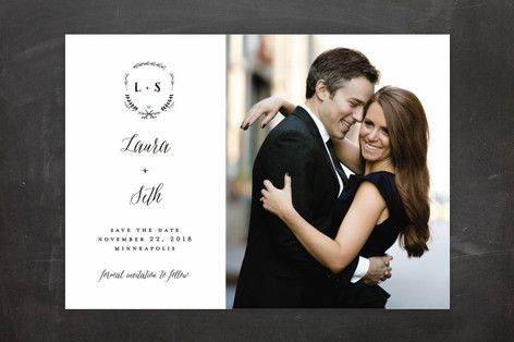 """""""Always"""" - Monogrammed, Formal Save The Date Cards in Mint by Susan Brown."""