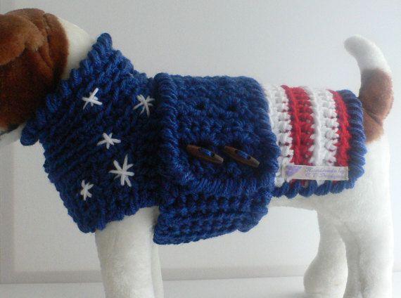Crochet Dog Sweater, Small Dog Sweater, Patriotic Dog Clothes, Small Dog Clothes, Stars and Stripes Dog Sweater, 4th of July Dog Clothes