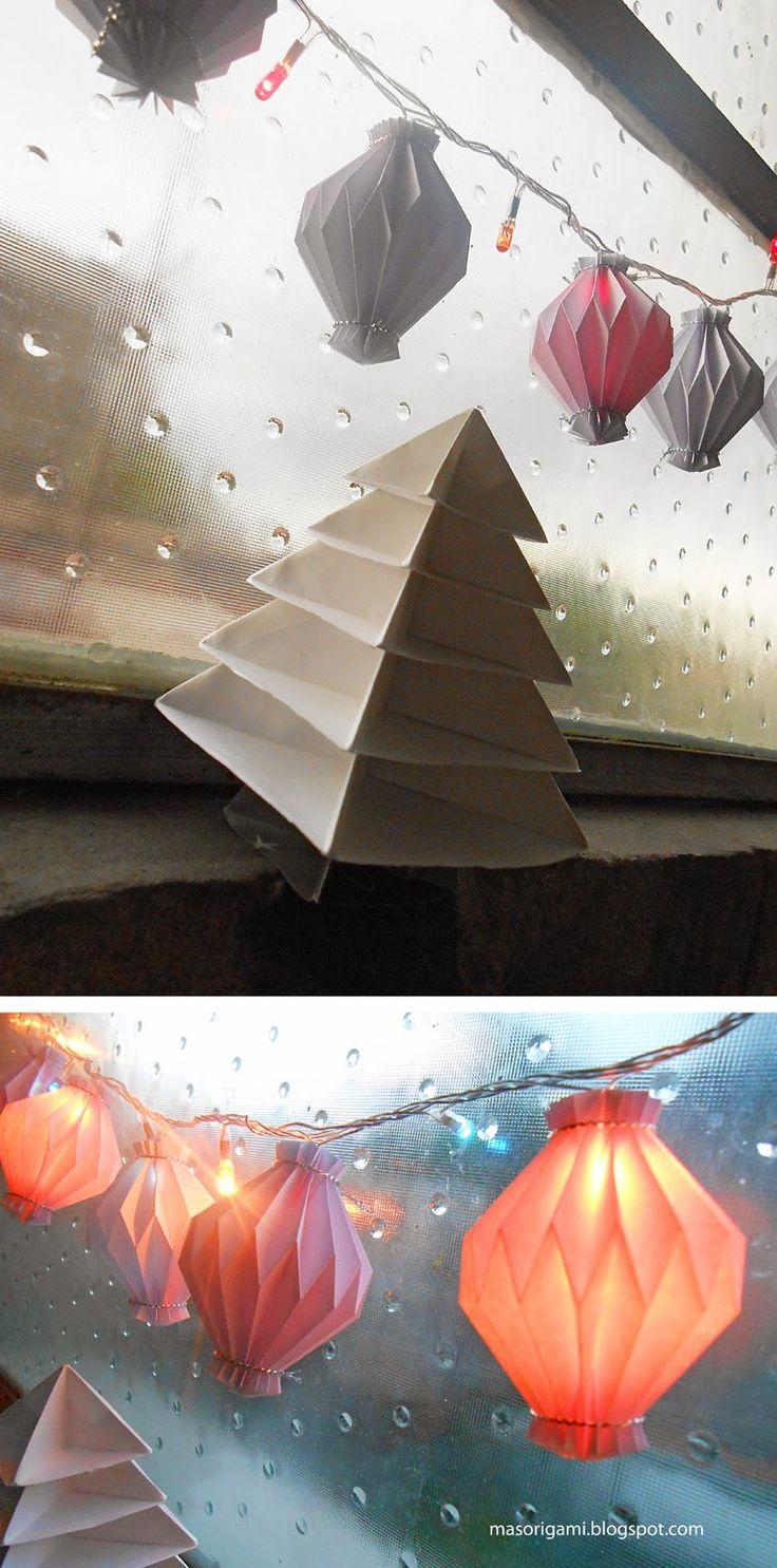 Origami rinconcito navide o decorado con faroles y rbol - Arbol de navidad decorado ...