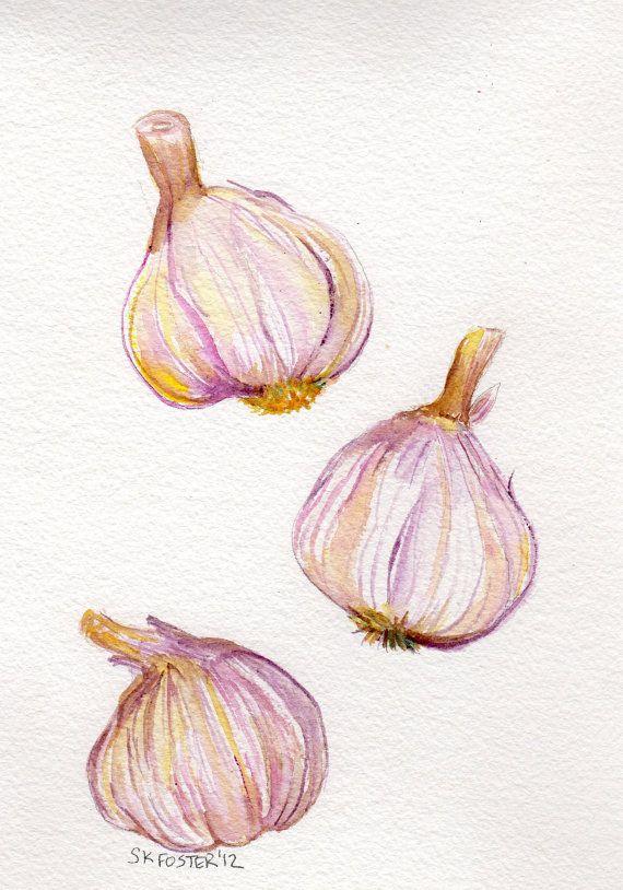 Tumbling Bulbs of Garlic - original watercolor #food art #original watercolor #garlic art