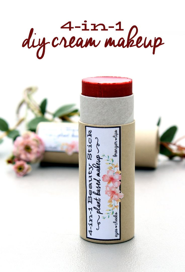 Create your own DIY plant based makeup! You can start with a few simple ingredients to make your own rose scented 4-in-1 all over cream beauty stick! Not only is this plant based makeup vegan, but there are also printable labels you can use for gifting!