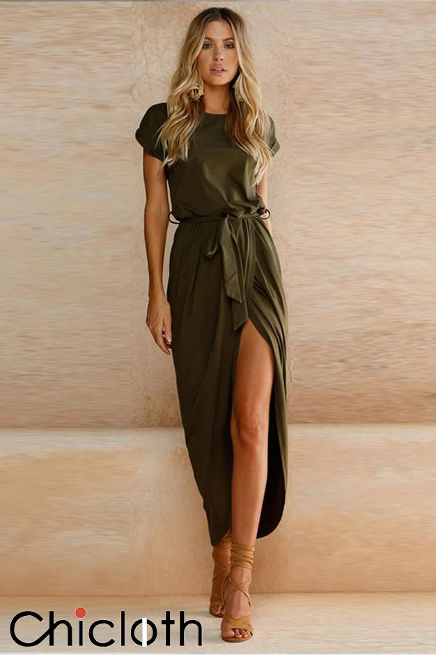 A| Chicloth Short Sleeve High Slit Solid Maxi Dress with Belt