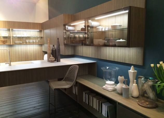 The colour palette is very much a living room less a kitchen palette: beige-grey wood in combination with Nordic blues #Eurocucina