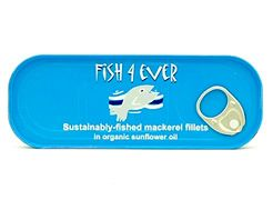 Mackerel Fillets in Sunflower Oil, Fish 4 Ever (120g) - Abel and Cole