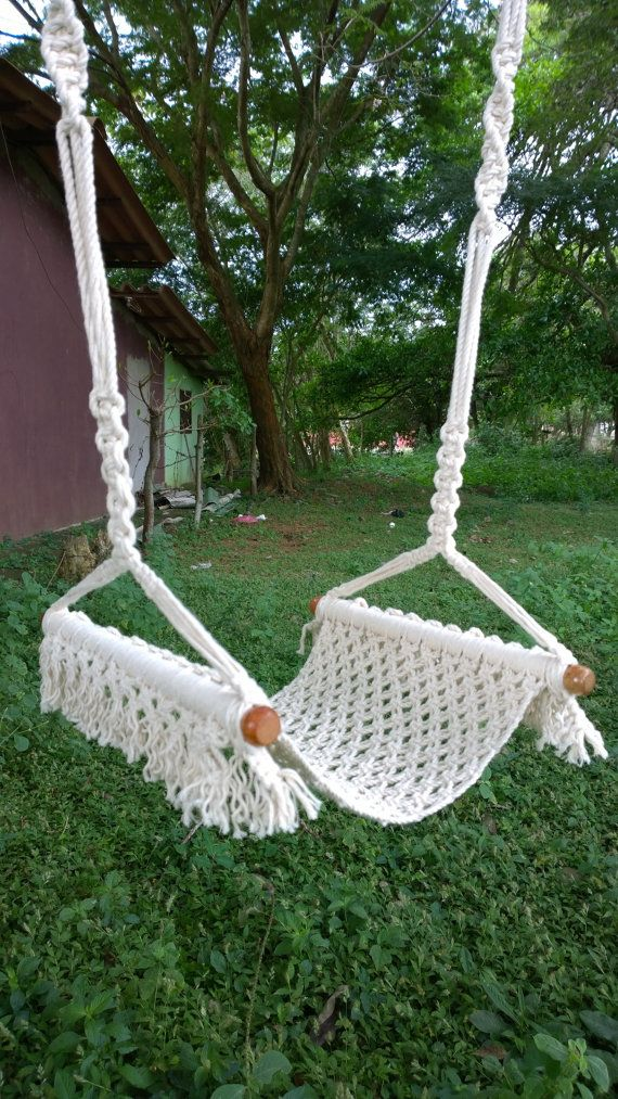 Macrame Swing, It is a comfortable and fun swing for fun and relaxation of babies, is designed according to its internal spaces, it is easy to store and carry when out for a walk, is handwoven and art we use is macrame. Details: Materials: cotton manila, aluminum Dimensions: ropes 150 centimeter, seat 45 centimeter * 35 centimete Art: macramé, decorative stitches Capacity: 77 kg We can make color combinations according to your taste. Scribes if you want to customize Thank you very much for y...