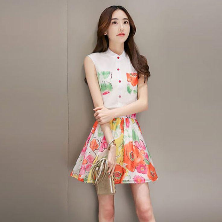 2016 лето новой корейской версии женщин большого размера летом без рукавов печати платье из двух частей платье костюм юбка женская Lynx -tmall.com