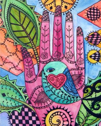 trace your hands in a journalDoodles Pattern, Doodles Art, Zen Doodles, The Artists, Abstract Art, Art Journals, Whimsical Art, Birds, Henna Hands
