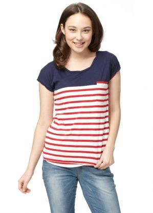 Color Bar Splicing Maternity and Breastfeeding Cotton T-Shirt Nomor produk:1318