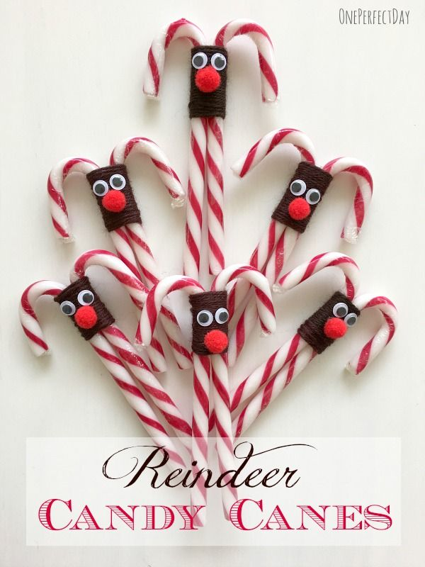 Reindeer candy canes - such a cute and simple idea!