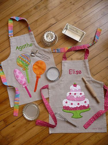 Named and decorated aprons