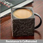 """The Star Trek Borg Cube Mug will remind you of """"home"""" during your time with Species 5618, as well as provide you with any energy your human physiology may demand for its biological functions."""