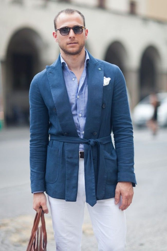 Blue Belted summer jacket at Pitti Uomo 84
