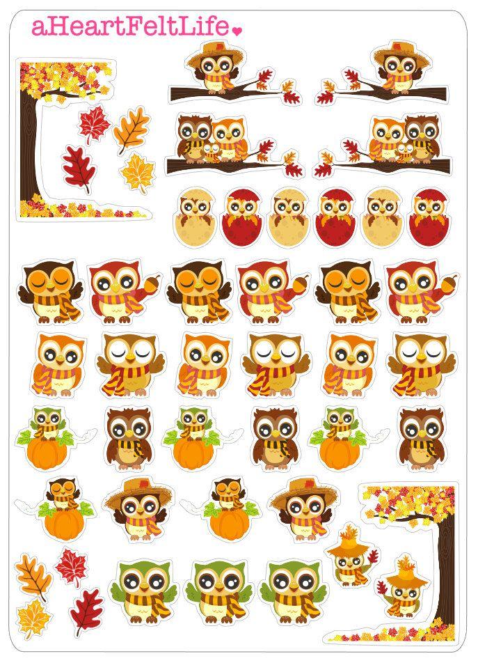 Autumn Owls Stickers for your Planner, scrapbook, calendar ...