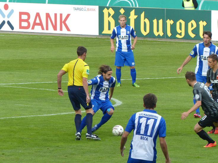 16.08.2014 1. FC Magdeburg - FC Augsburg 1907 1. Runde DFB-Pokal, 17854 Zuschauer. Der 1. FC Magdeburg gewinnt mit 1:0. everydaysecrets74.tumblr.com #Magdeburg #Fußball #DFB #Augsburg #Sieg