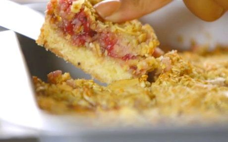Strawberry, Almond and Coconut Slices Recipe by Siba Mtongana