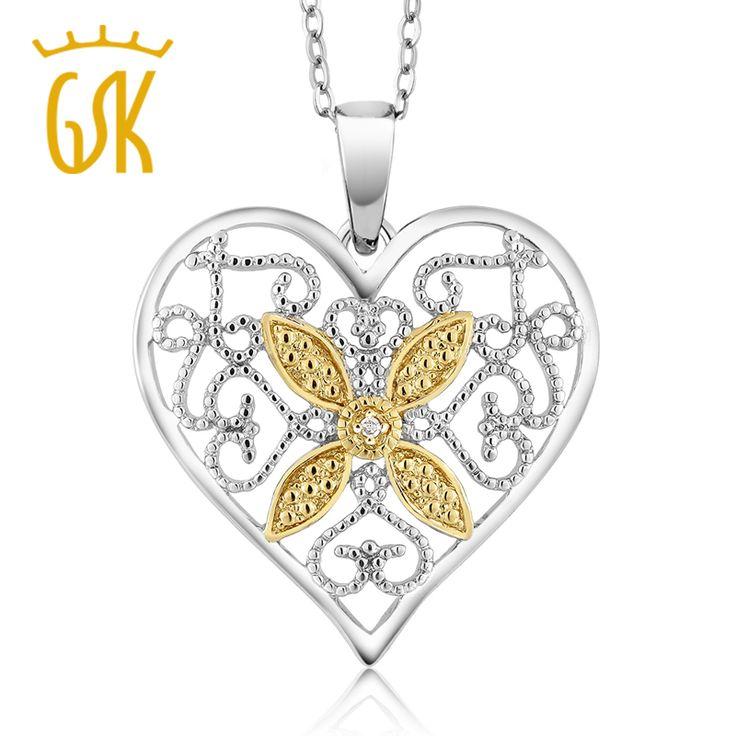 Gemstoneking vrouwen prachtige natuurlijke accent diamant messing hart hanger ketting met 18 inch chain