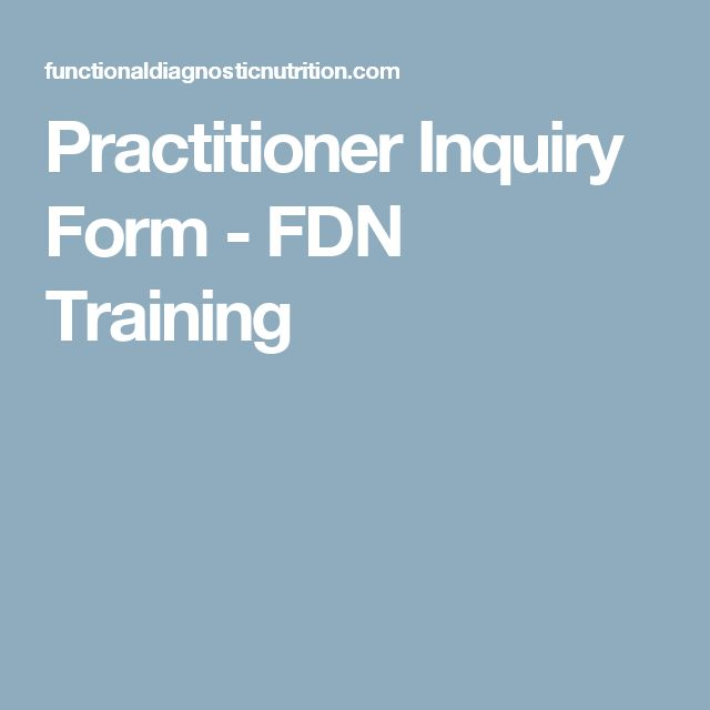 Practitioner Inquiry Form - FDN Training