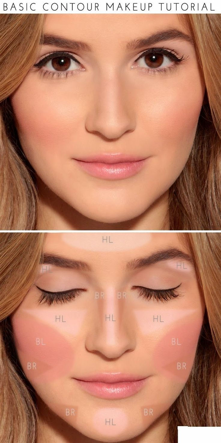 "Fill in the areas marked ""BR"" with a darker foundation or powder (about 2 shades darker than your skin) to act as your bronzer. Finish off by applying blush in the area of the cheekbone marked ""BL"" and—voilà!—a perfect makeup look for any special occasion!"