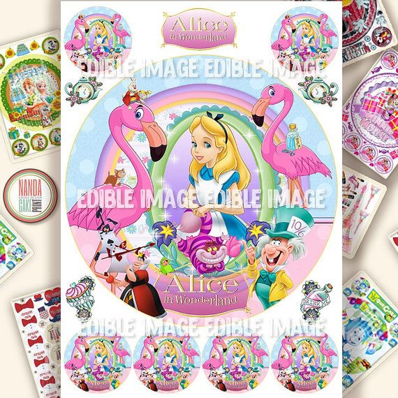 Alice in Wonderland edible cake decorations Icing personalised Cake toppers Birthday