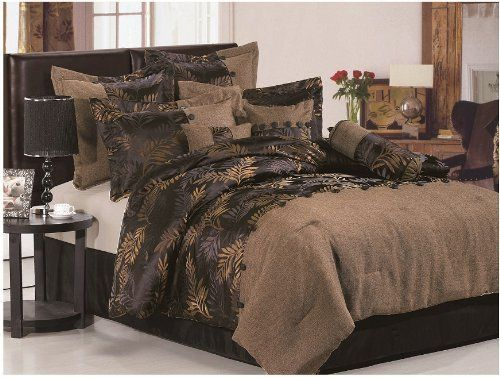 Luxury Brown Leave Faux Linen Comforter Set Queen by OctoRose. $69.99. Easy Machine Washing cold. backing: 65% polyester. 35% cotton. Linen and jacquard material 7pc comforter set. included comforter, pillow sham(2), cushion(2), bedskirt and neckroll. facing: 100% polyester. Brand New  Luxury 7 Piece Brown Leave Faux Linen / Flax Comforter Set bedding-in-bag.     Reinvent your bedroom with this refreshingly comforter set. The designer style modern comforter set will infuse fashio...