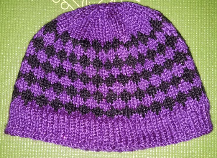Diamond Patterned Beanie Knit in Black and Purple Sparkly Yarn by KnitsByKB on Etsy