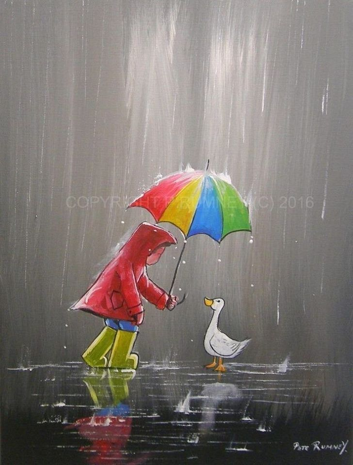 Pin by Sue Lenhart on Cute Pictures in 2019 | Rain painting, Art, Painting