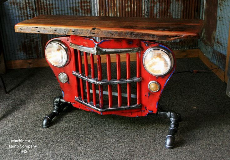 Steampunk Industrial Table, Jeep Willys Console Table, #948