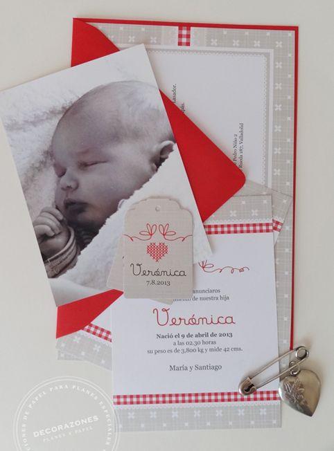 Decorazones.es _ Invitación de bautizo, tarjeta de nacimiento, etiqueta y la foto de verónica.