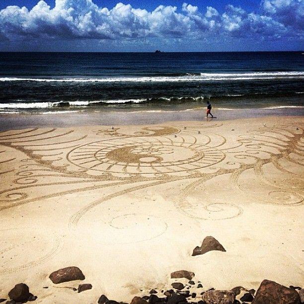 Sand drawings at Byron Bay Australia