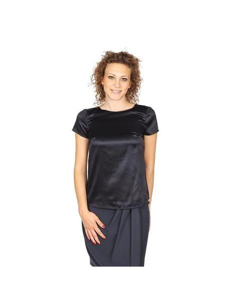 Armani Collezioni ladies shirt short sleeve without buttons RMC05T RM301 999: Armani Collezioni ladies shirt short sleeve without buttons RMC05T RM301 999 Black 36 IT - 0 US